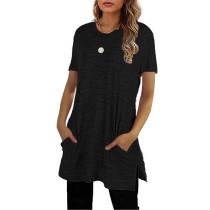 Black Sides Split Short Sleeve Tunic Top TQK210638-2