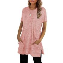 Pink Sides Split Short Sleeve Tunic Top TQK210638-10