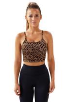 Brown Leopard Animal Print Sport Bra LC264043-17