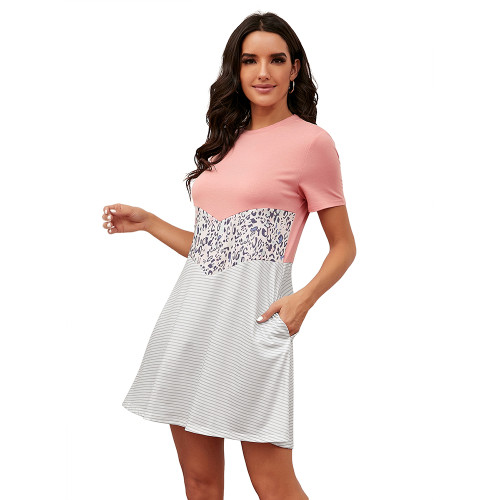 Pink Spliced Leopard Stripe Short Sleeve Dress TQK310506-10