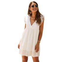 White V Neck Cap Sleeveless Lace Dress TQK310505-1