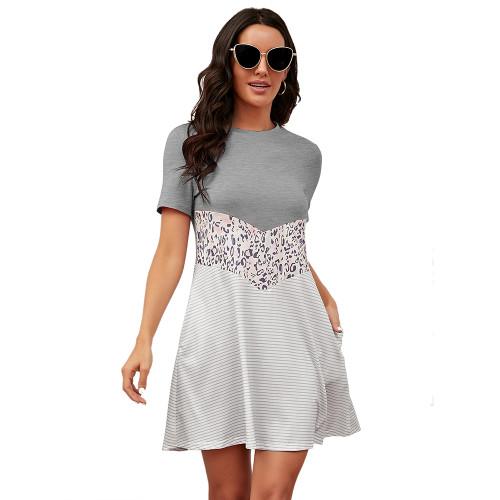 Gray Spliced Leopard Stripe Short Sleeve Dress TQK310506-11