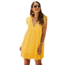 Yellow V Neck Cap Sleeveless Lace Dress TQK310505-7