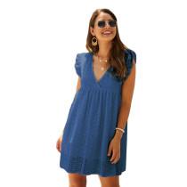 Blue V Neck Cap Sleeveless Lace Dress TQK310505-5