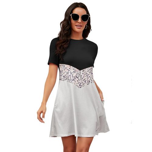 Black Spliced Leopard Stripe Short Sleeve Dress TQK310506-2
