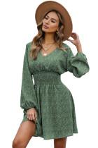 Green V Neck Balloon Sleeve Smocked Waist Printed Mini Dress LC223091-9