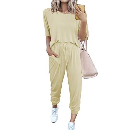 Apricot Loungewear Short Sleeve Top and Pant Set TQK710286-18