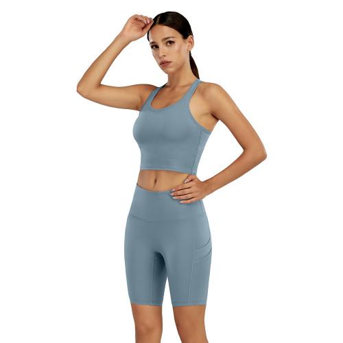 Light Blue Yoga Tank Bra and Shorts Set TQK710288-30