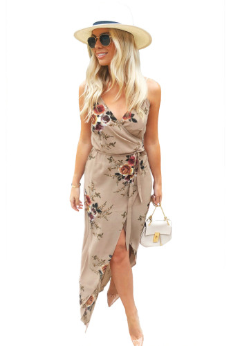 Apricot Floral Wrap Maxi Dress With Slit LC613539-18