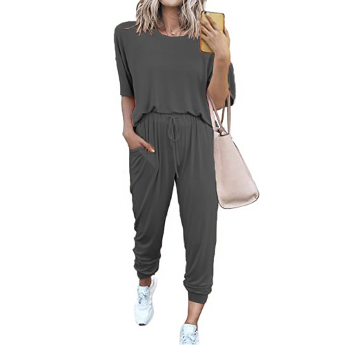 Dark Gray Loungewear Short Sleeve Top and Pant Set TQK710286-26