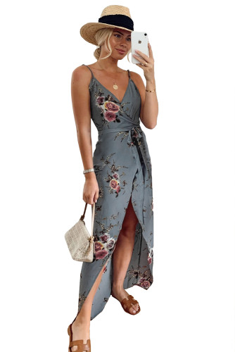 Gray Floral Wrap Maxi Dress With Slit LC613539-11