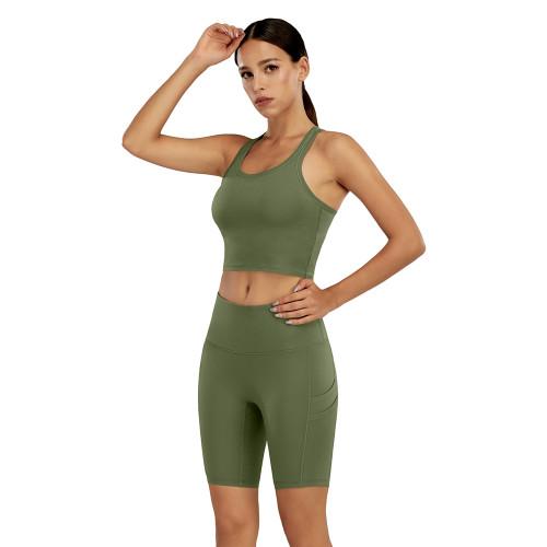 Army Green Yoga Tank Bra and Shorts Set TQK710288-27