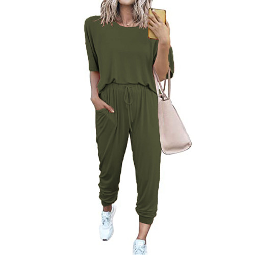Army Green Loungewear Short Sleeve Top and Pant Set TQK710286-27