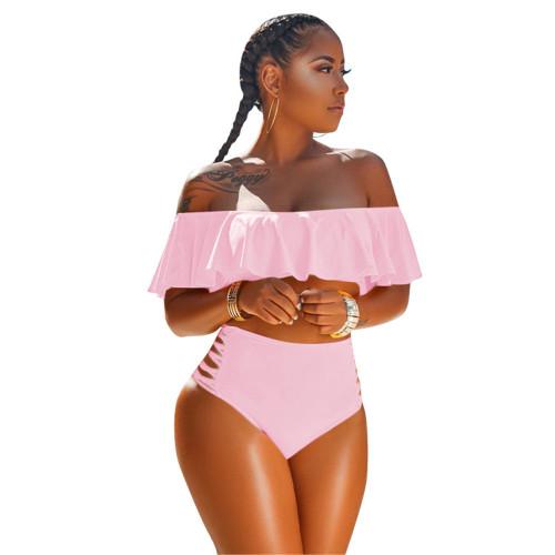 Pink Side Hollow-out Off Shoulder Bikini Set TQK610192-10