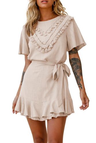 Pink Tassel Bust Wrap Bottom Dress LC223895-10