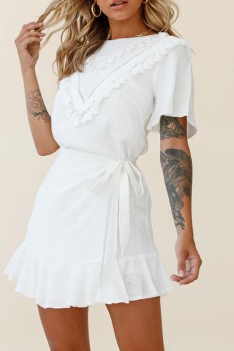 White Tassel Bust Wrap Bottom Dress LC223895-1