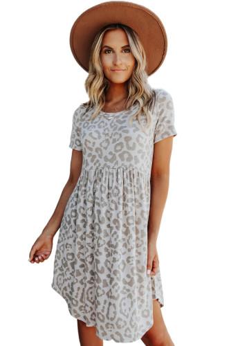 Leopard Print Empire Waist Babydoll Style Dress LC223651-20