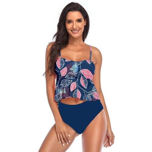 Navy Blue 2pcs Floral Print Ruffle Hem Tankini Swimsuit TQK610191-34