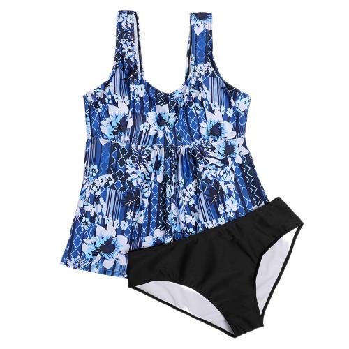 Navy Blue Print Plus Size Tankini Swimsuit TQK610195-34