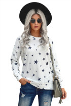 White Round Neck Star Print Long Sleeve Top LC2511743-1