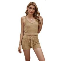 Solid Khaki Loungewear Tank Top with Short Set TQK710291-21