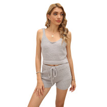 Solid Gray Loungewear Tank Top with Short Set TQK710291-11