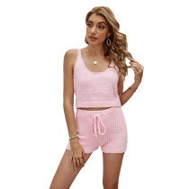 Solid Pink Loungewear Tank Top with Short Set TQK710291-10