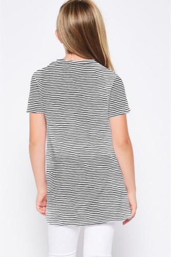 Black Short Sleeve Front Twist Striped Girl's Top TZ25148-2