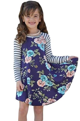 Blue Spring Fling Floral Striped Sleeve Short Dress for Kids TZ22022-5