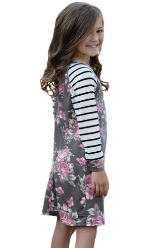 Gray Spring Fling Floral Striped Sleeve Short Dress for Kids TZ22022-11
