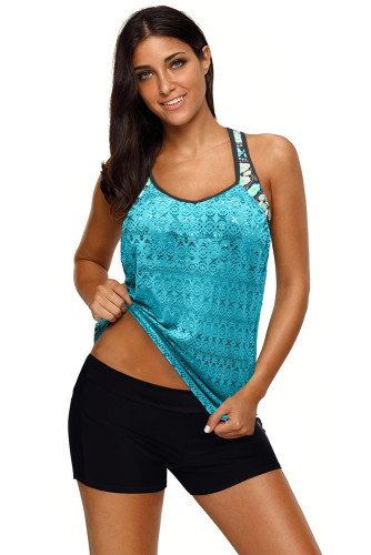 Green Printed Patchwork Vest Tankini Top LC411909-9