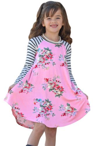 Pink Spring Fling Floral Striped Sleeve Short Dress for Kids TZ22022-10