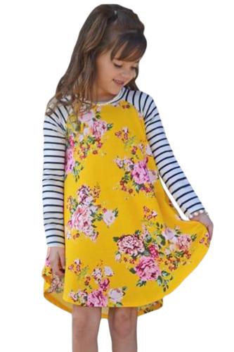 Yellow Spring Fling Floral Striped Sleeve Short Dress for Kids TZ22022-7