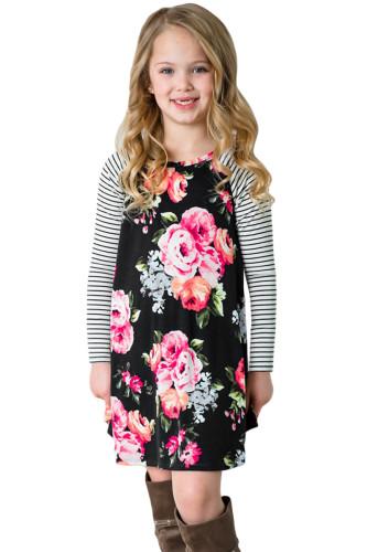 Black Spring Fling Floral Striped Sleeve Short Dress for Kids TZ22022-2