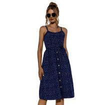 Navy Blue Polka Dot Print Buttoned Slip Dress TQK310515-34