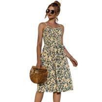 Light Yellow Floral Print Buttoned Slip Dress TQK310515-42