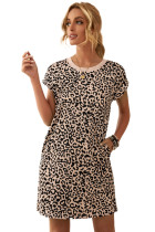 Leopard Pattern T-shirt Dress with Pockets LC223626-20
