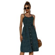Dark Green Polka Dot Print Buttoned Slip Dress TQK310515-36