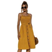Yellow Polka Dot Print Buttoned Slip Dress TQK310515-7