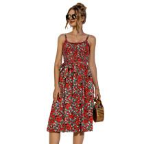 Multicolor Floral Print Buttoned Slip Dress TQK310515-29