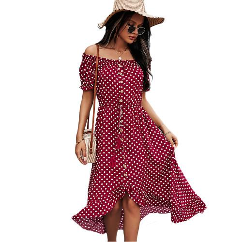 Wine Red Polka Dot Off Shoulder Dress TQK310523-103