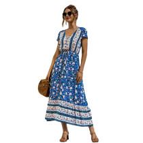 Blue Lace Up Buttoned Maxi Floral Dress TQK310522-5