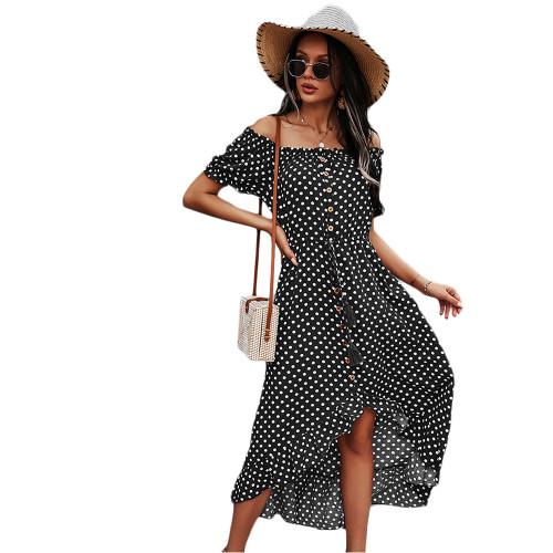 Black Polka Dot Off Shoulder Dress TQK310523-2