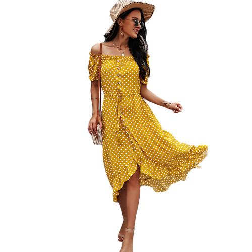 Yellow Polka Dot Off Shoulder Dress TQK310523-7