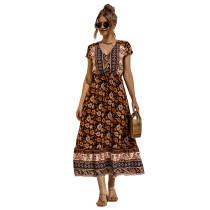 Black Lace Up Buttoned Maxi Floral Dress TQK310522-2