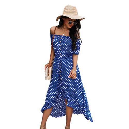 Blue Polka Dot Off Shoulder Dress TQK310523-5