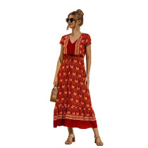 Red Lace Up Buttoned Maxi Floral Dress TQK310522-3