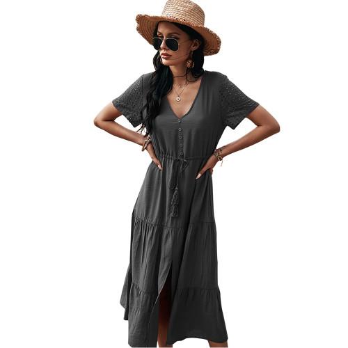 Black Button Detail V Neck Drawstring Holiday Dress TQK310524-2