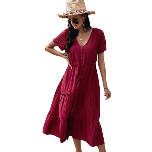 Wine Red Button Detail V Neck Drawstring Holiday Dress TQK310524-103