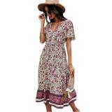 White Short Sleeve V Neck Boho Dress TQK310530-1